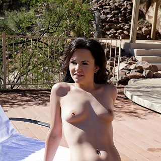 Sexy Brooklyn Daniels discards her sheer bikini to masturbate in the summer sun