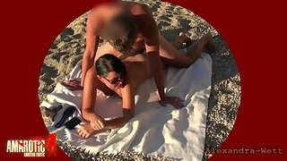 Alexandra Wett - geile MILF lässt sich am FKK Strand public ficken